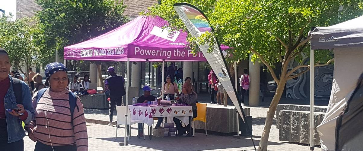 LoveLife's big purple marquee signified Health and Wellness day on Sol Plaatje campus